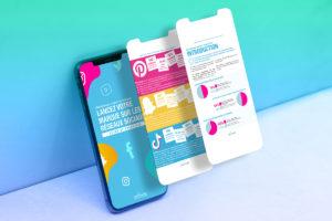 Illustration avec téléphone : Lancez votre marque sur les réseaux sociaux, guide et exercices